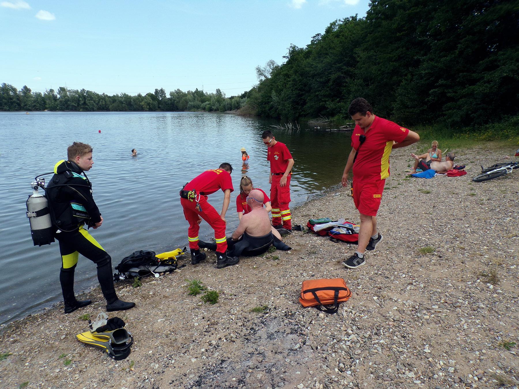 Rettungsübung am Hitdorferr See mit der DLRG Leverkusen